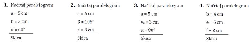 Paralelogram-naloge